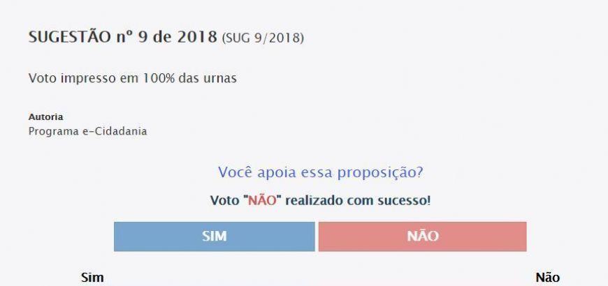 Você é contra ou a favor do voto impresso no Brasil? Vote na consulta pública do Senado (Crédito: Reprodução)