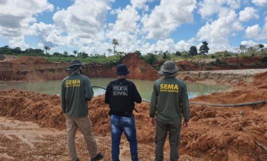 Regional da Sema em Alta Floresta multa e embarga áreas de desmatamento ilegal, garimpos e posto de gasolina (Crédito: SEMA/MT)
