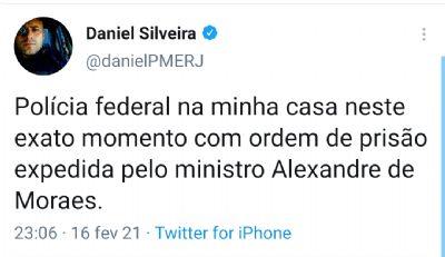 O deputado Daniel Silveira é preso após atacar STF