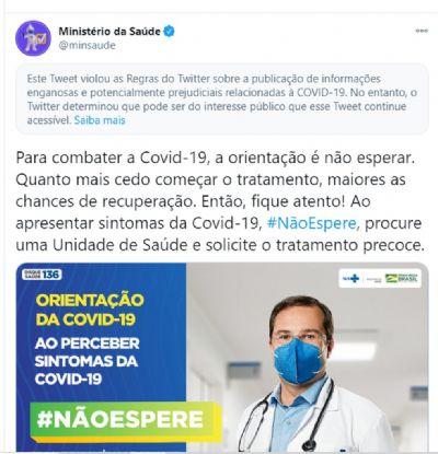 O Twitter considera enganosa postagem do Ministério da Saúde