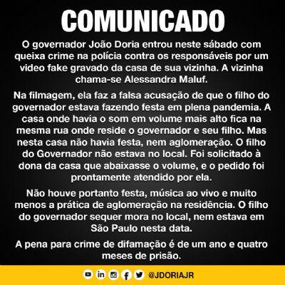 GOVERNADOR JOÃO DORIA DIVULGA NOTA DESMENTINDO FAKE NEWS