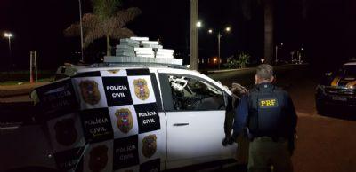 Polícia Civil e PRF prendem suspeito com 30 tabletes de cocaína na BR 070