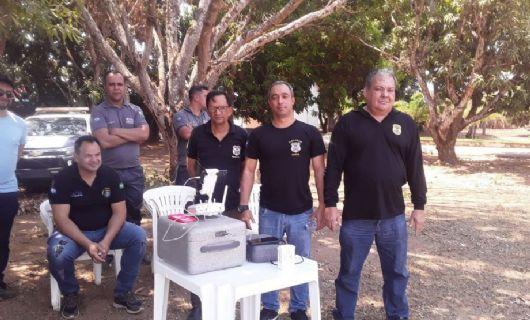 Policiais civis participam de curso para operação de drone ministrado pelo Sindicato Rural de Canarana (Crédito: Polícia Civil-MT)