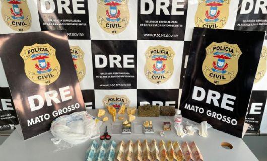 Polícia Civil traficante com diversas porções de entorpecentes no bairro Jardim Leblon em Cuiabá (Crédito: Polícia Civil-MT)