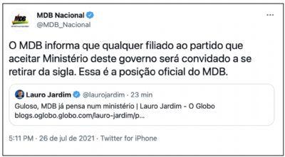 MDB EXPULSARÁ FILIADOS QUE ACEITAREM CARGOS DE BOLSONARO