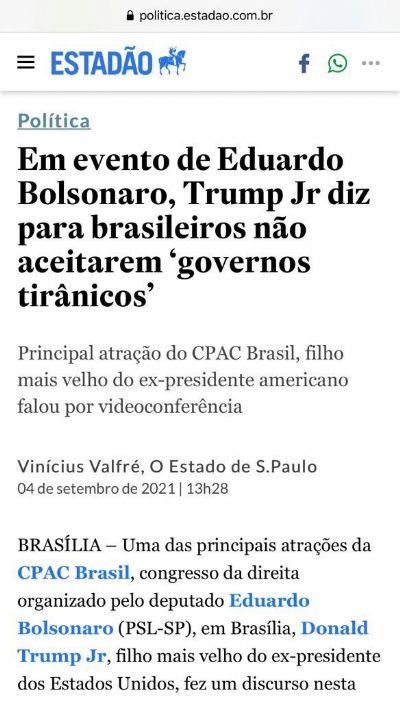 Trump Jr ataca governo Bolsonaro na frente do filho dele