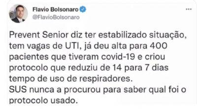 FLÁVIO BOLSONARO APAGOU ESTE TWITTE. POR QUAL MOTIVO?